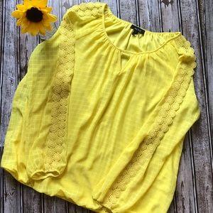 Alyx lemon yellow elastic waist blouse